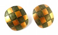 Vintage Copper Chequer Board Style Clip On Earrings By Moda.